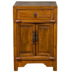 Qing Dynasty Elmwood 19th Century Side Chest with Single Drawer and Double Doors