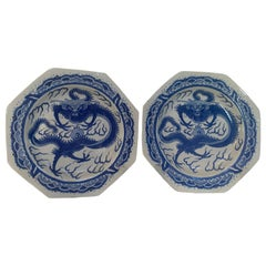 Qing Dynasty Pair of Chinese Blue and White Octagonal Porcelain Dragon Plates