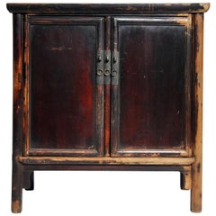 Qing Dynasty Round Post Chest with Two Drawers and Original Patina