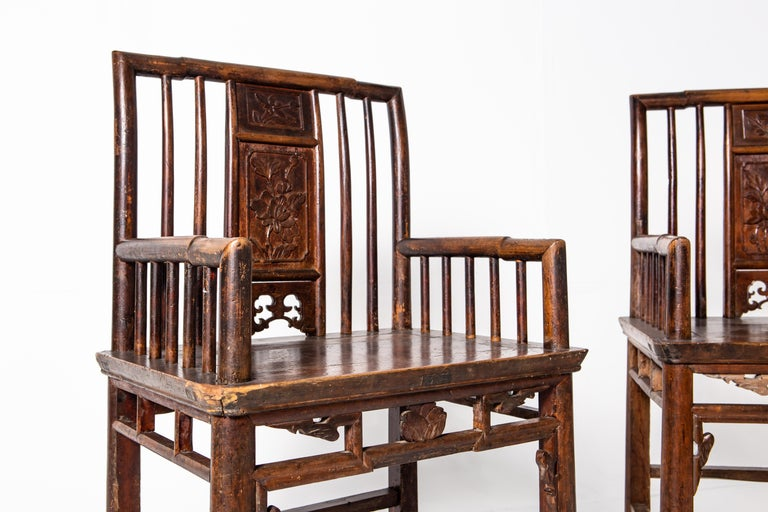 Qing Dynasty Short-Backed Southern Official's Hat Armchairs For Sale 5