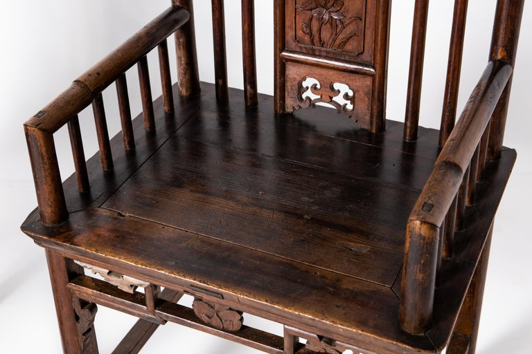 Qing Dynasty Short-Backed Southern Official's Hat Armchairs For Sale 7