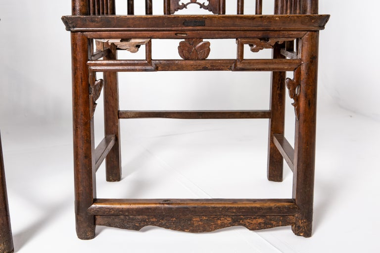 Qing Dynasty Short-Backed Southern Official's Hat Armchairs For Sale 8