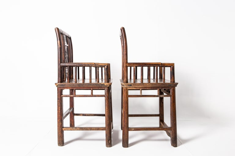 Qing Dynasty Short-Backed Southern Official's Hat Armchairs For Sale 9