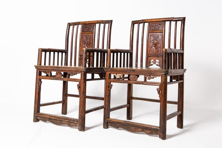 Qing Dynasty Short-Backed Southern Official's Hat Armchairs For Sale 10
