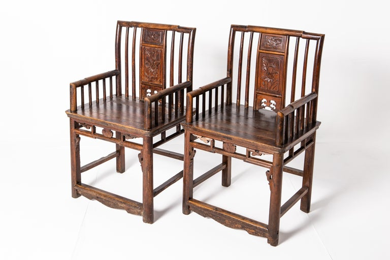 Qing Dynasty Short-Backed Southern Official's Hat Armchairs For Sale 11