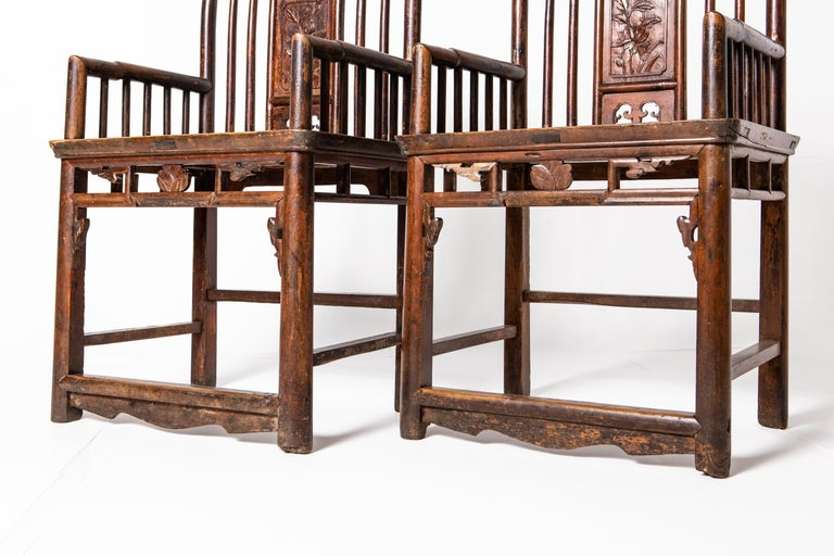 Qing Dynasty Short-Backed Southern Official's Hat Armchairs For Sale 12