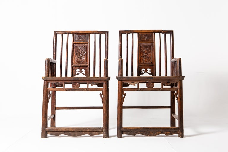Qing Dynasty Short-Backed Southern Official's Hat Armchairs For Sale 14