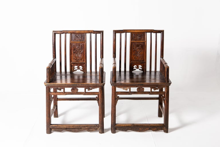 Chinese Qing Dynasty Short-Backed Southern Official's Hat Armchairs For Sale