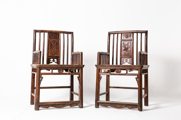 Qing Dynasty Short-Backed Southern Official's Hat Armchairs In Good Condition For Sale In Chicago, IL