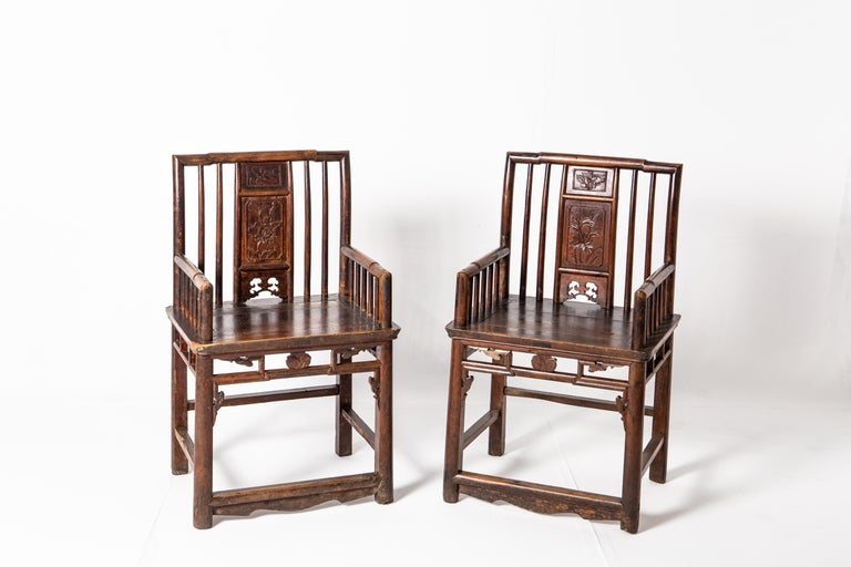 19th Century Qing Dynasty Short-Backed Southern Official's Hat Armchairs For Sale