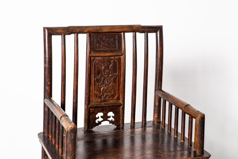 Wood Qing Dynasty Short-Backed Southern Official's Hat Armchairs For Sale