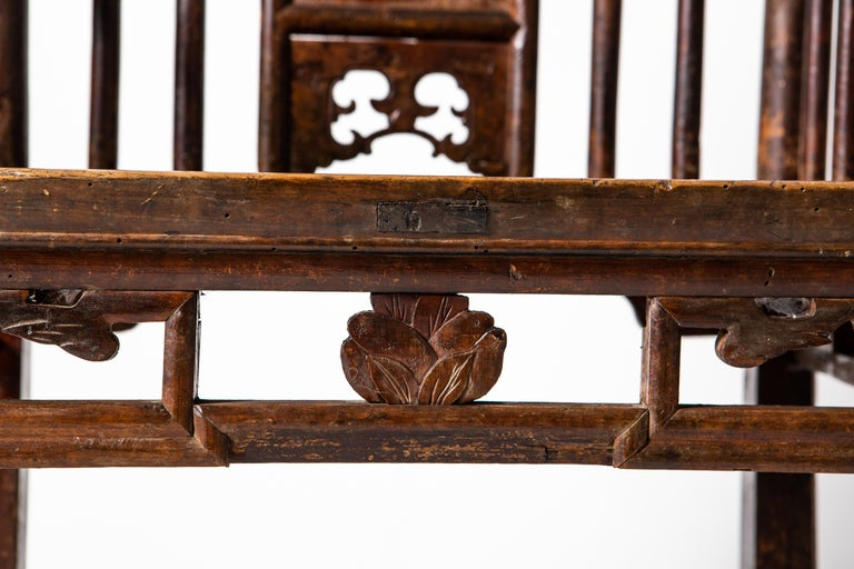 Qing Dynasty Short-Backed Southern Official's Hat Armchairs For Sale 2
