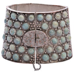 Qing Dynasty Turquoise Cuff Silver Over Copper