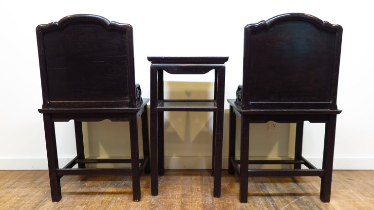 Qing Dynasty Zitan Chair Set For Sale 7