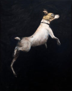 Inicio El Vuelo - 21st Cent, Contemporary, Figurative Oil Painting, Dog, Animal