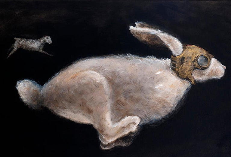 Primer Viaje - 21st Cent, Contemporary, Figurative Oil Painting, Rabbits, Animal - Black Figurative Painting by QK (Cuca)