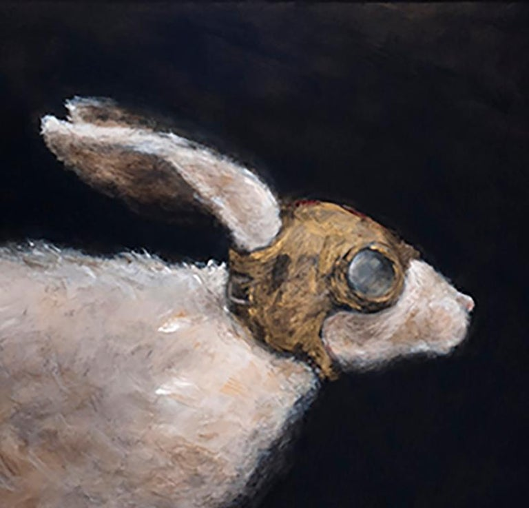 Primer Viaje - 21st Cent, Contemporary, Figurative Oil Painting, Rabbits, Animal For Sale 2