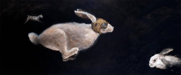 QK (Cuca) Figurative Painting - Primer Viaje - 21st Cent, Contemporary, Figurative Oil Painting, Rabbits, Animal