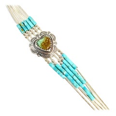 Navajo Sterling Silver Turquoise Bracelet By Q.T. Estate CCBRLS11