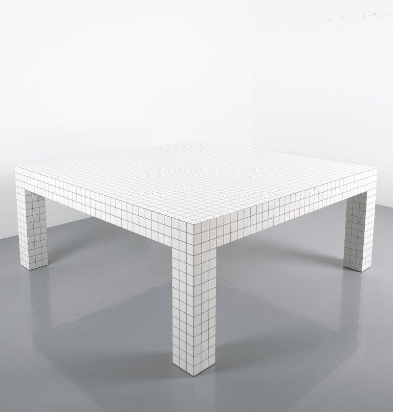 Quaderna White Grid Coffee Table Superstudio for Zanotta, 1970s, Italy For Sale 2