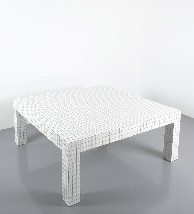 Quaderna White Grid Coffee Table Superstudio for Zanotta, 1970s, Italy For Sale 3
