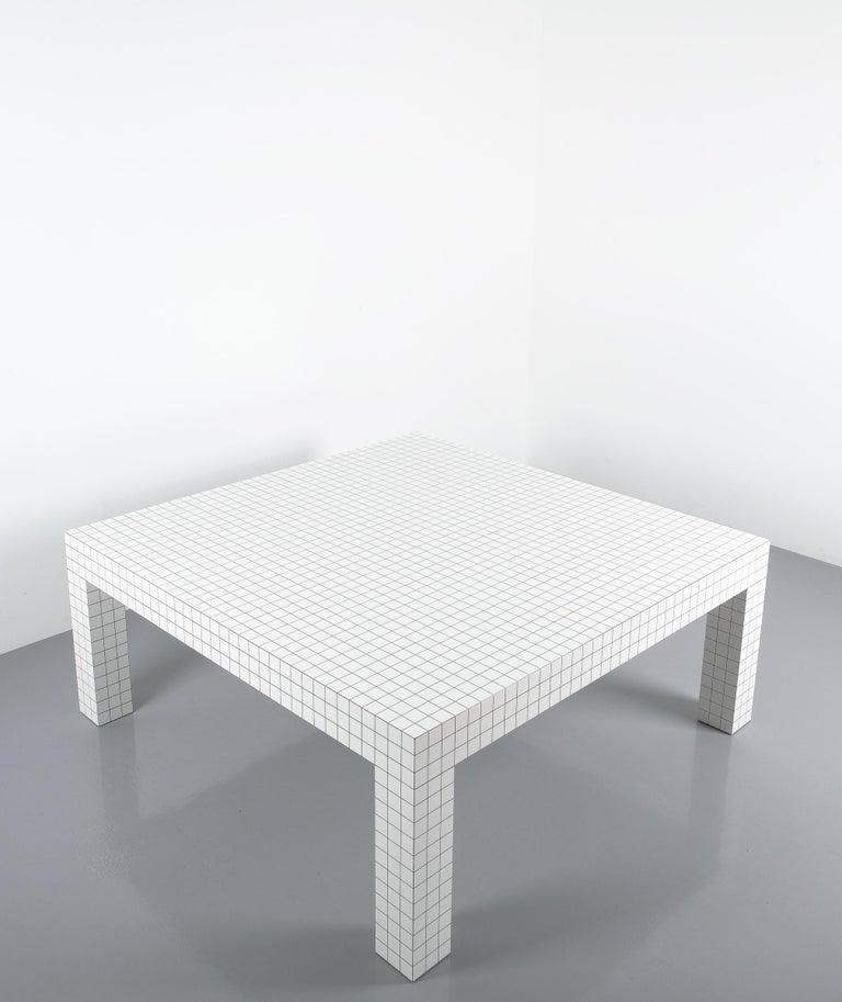 Quaderna White Grid Coffee Table Superstudio for Zanotta, 1970s, Italy For Sale 4