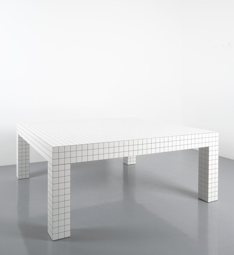 Italian Quaderna White Grid Coffee Table Superstudio for Zanotta, 1970s, Italy For Sale