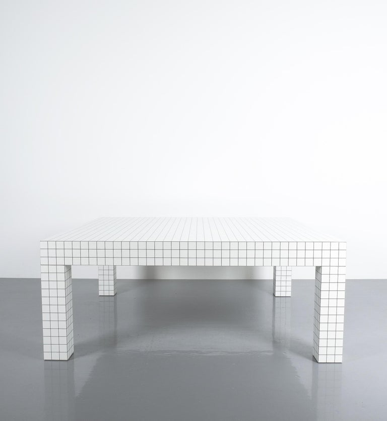 Laminated Quaderna White Grid Coffee Table Superstudio for Zanotta, 1970s, Italy For Sale