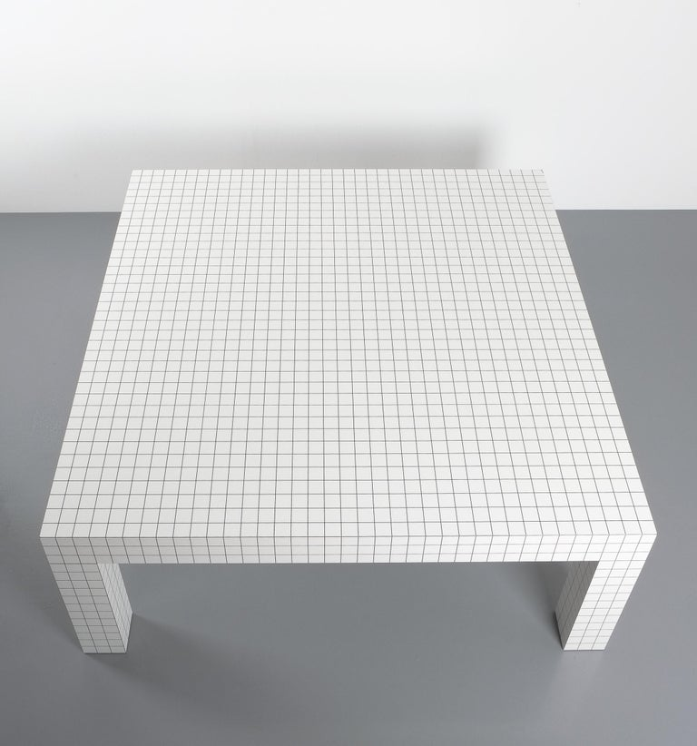 Quaderna White Grid Coffee Table Superstudio for Zanotta, 1970s, Italy In Good Condition For Sale In Vienna, AT