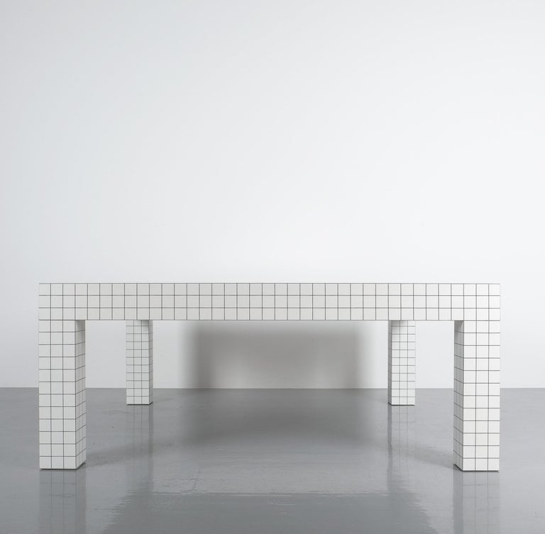 Late 20th Century Quaderna White Grid Coffee Table Superstudio for Zanotta, 1970s, Italy For Sale