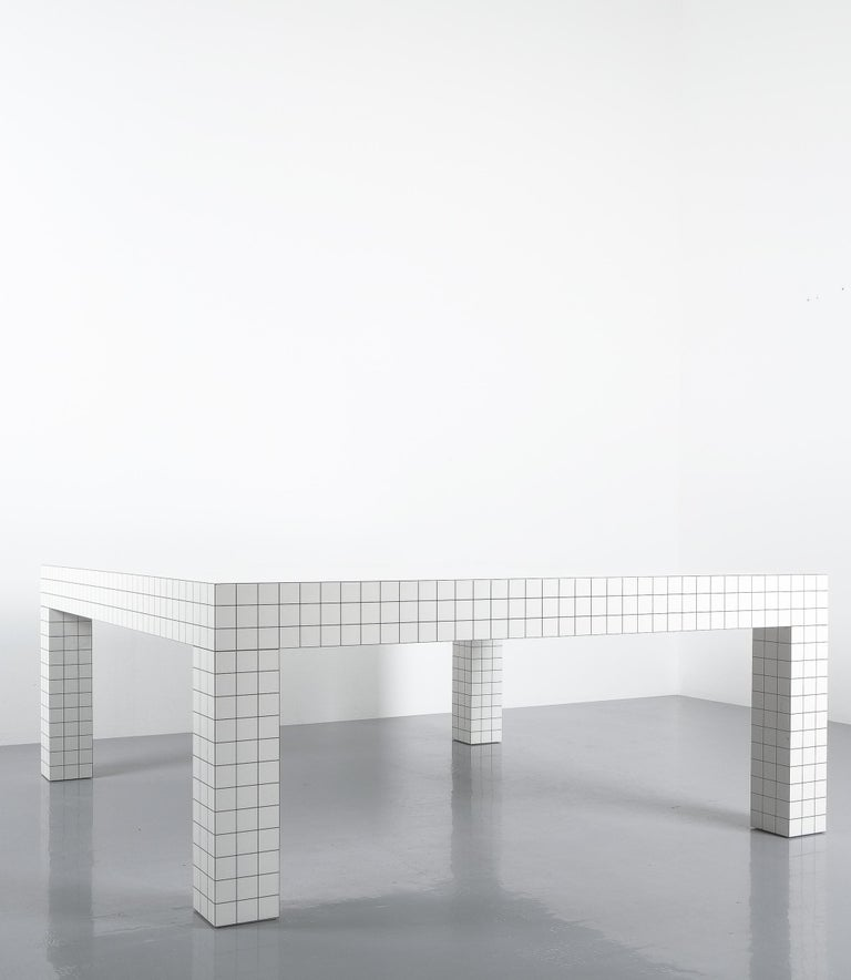Wood Quaderna White Grid Coffee Table Superstudio for Zanotta, 1970s, Italy For Sale