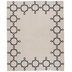 Quadrato Magico Cashmere Wool Chain Stitch Rug Designed by Barbara Frua