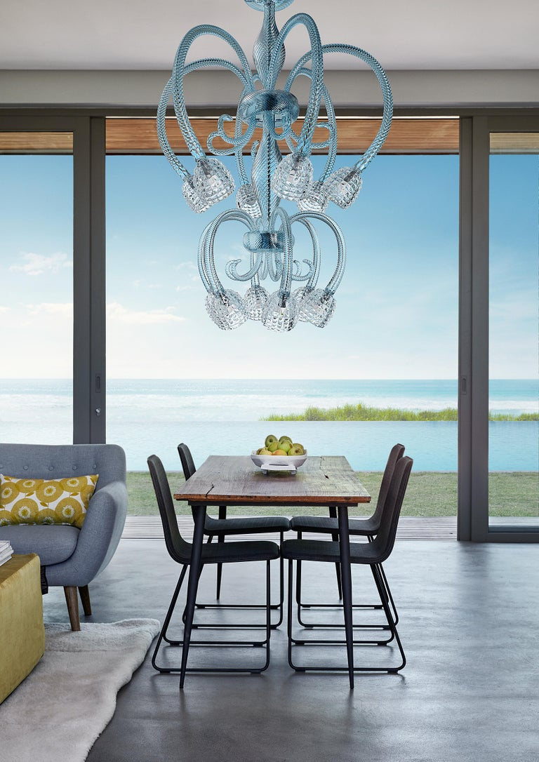 Quadri 5718 12 Chandelier in Glass and Polished Chrome, by Barovier&Toso For Sale 1