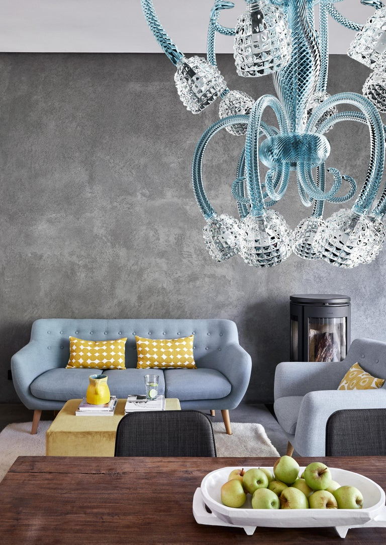 Quadri 5718 12 Chandelier in Glass and Polished Chrome, by Barovier&Toso For Sale 2