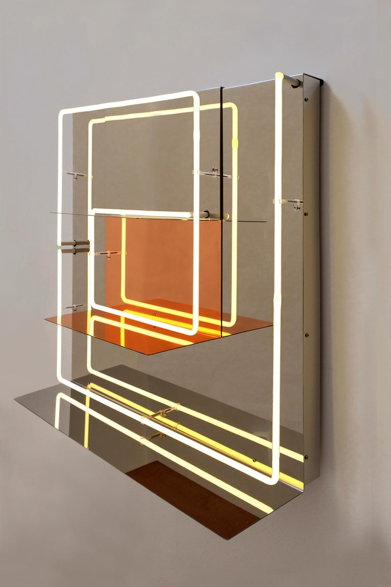 Italian Quadri Luminosi in Mirror and Steel Handmade in Italy  For Sale