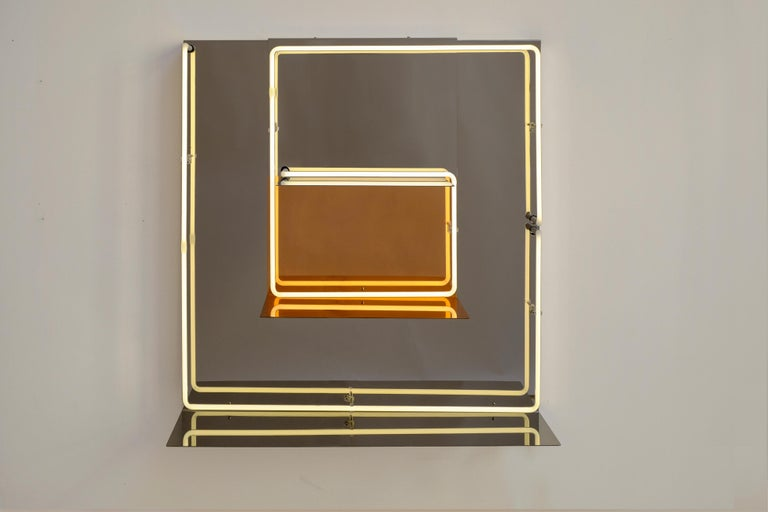 Contemporary Quadri Luminosi in Mirror and Steel Handmade in Italy  For Sale