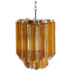 Quadriedri Murano chandelier - 47 prisms - trasparent amber