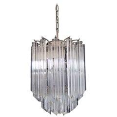 Quadriedri Murano chandelier – 47 trasparent prisms