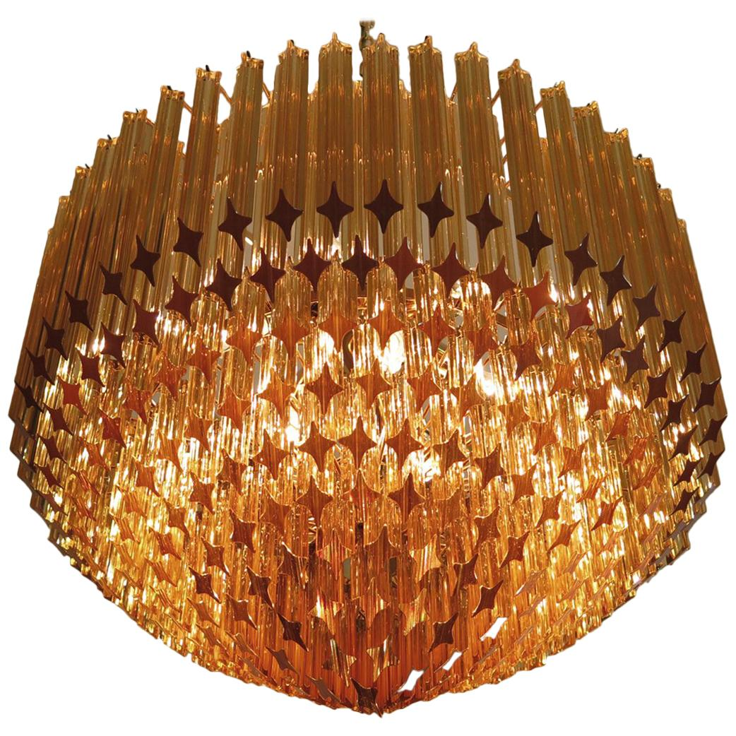 Quadriedri Murano Glass Chandelier, 265 Amber Prism, Gold Frame