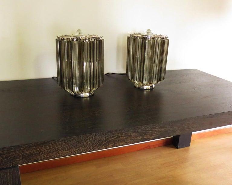 Quadriedri Table Lamp, Venini Style, Transparent and Smoked Prism For Sale 4