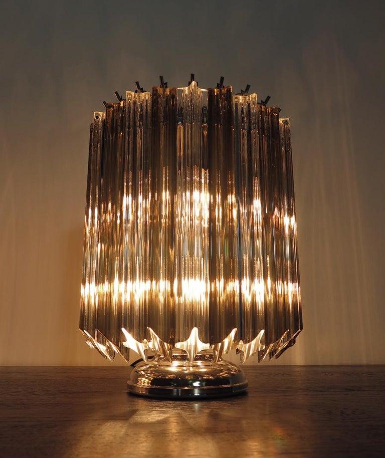 Quadriedri Table Lamp, Venini Style, Transparent and Smoked Prism For Sale 7