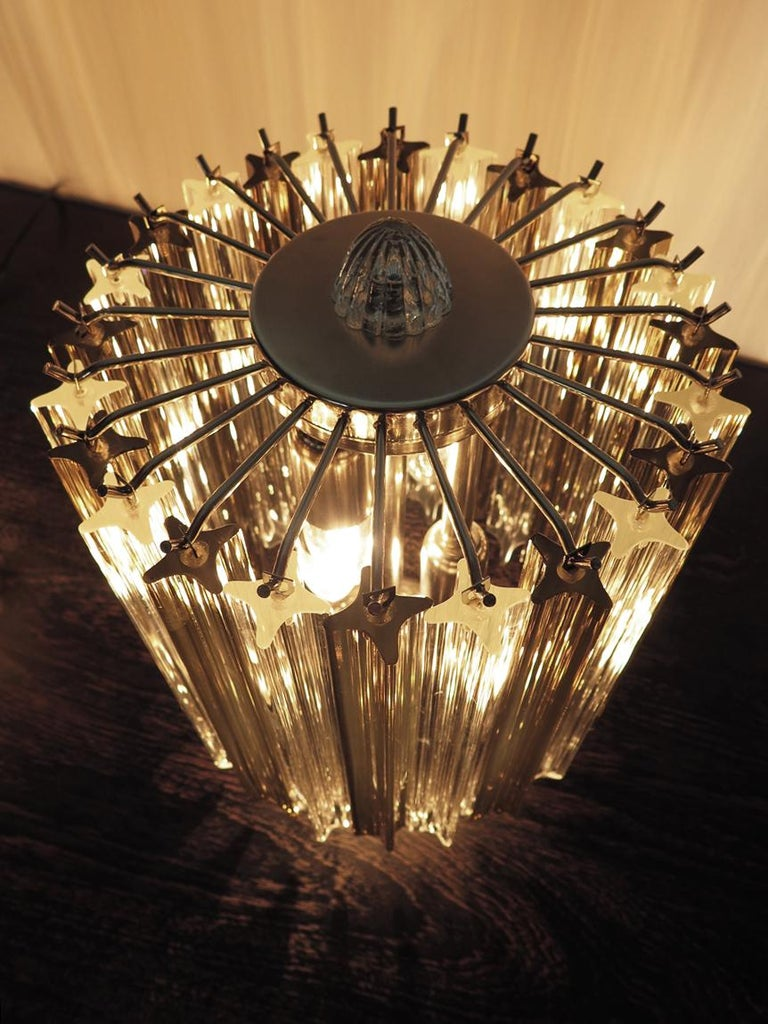 Blown Glass Quadriedri Table Lamp, Venini Style, Transparent and Smoked Prism For Sale