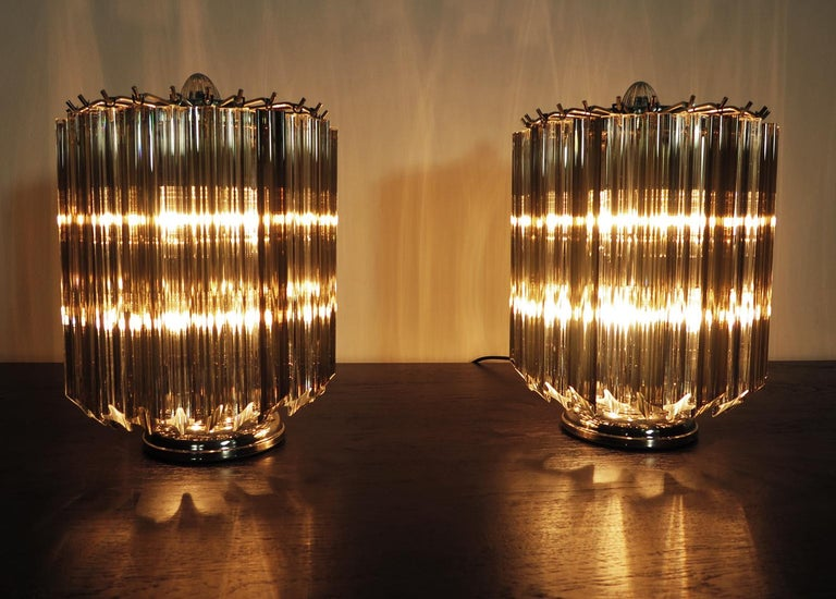 Quadriedri Table Lamp, Venini Style, Transparent and Smoked Prism For Sale 1