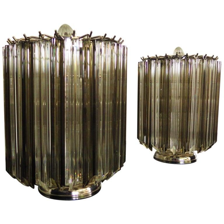 Quadriedri Table Lamp, Venini Style, Transparent and Smoked Prism For Sale