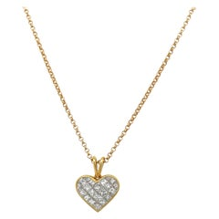 Quadrillion 18kt Yellow Gold 1.19ct Diamond Heart Pendant Necklace