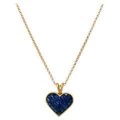 Quadrillion 18kt Yellow Gold, 2.53ct Blue Sapphire Heart Pendant Necklace