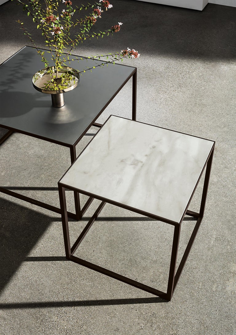 Modern In Stock in Los Angeles, Brass / Ceramic White Square Coffee Table For Sale