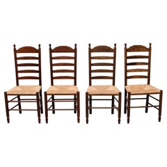 Quaker Style Ladder Back Dining Chairs with Rush Seats