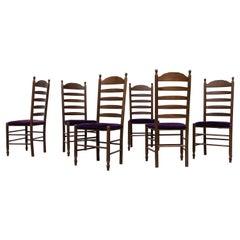 Quaker Style Ladder Back Rush and Velvet Dining Chairs