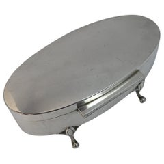 Quality 1921 Walker & Hall Solid Silver Oval Jewellery Box